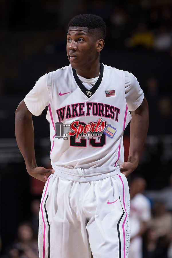 Cornelius Hudson (25) of the Wake Forest Demon Deacons during first half action against the Nicholls Colonels at the LJVM Coliseum on November 24, 2014 in Winston-Salem, North Carolina.  The Demon Deacons defeated the Colonels 75-48.   (Brian Westerholt/Sports On Film)