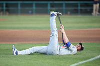 Kyle Garlick (17) of the Rancho Cucamonga Quakes stretches before a game against the Lancaster JetHawks at The Hanger on April 19, 2016 in Lancaster, California. Rancho Cucamonga defeated Lancaster, 10-6. (Larry Goren/Four Seam Images)