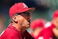 Arkansas Razorbacks head coach Dave Van Horn #2 argues balls and strikes with the home plate umpire during the game against the Texas Longhorns at Minute Maid Park on March 4, 2012 in Houston, Texas.  The Razorbacks defeated the Longhorns 7-3.  Brian Westerholt / Four Seam Images
