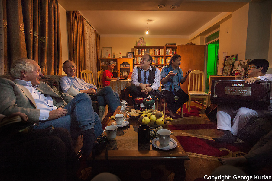 William Nygaard and Eugene Schoulgin of PEN with Afghan poets Samay Hamed and Waheed Warasta.