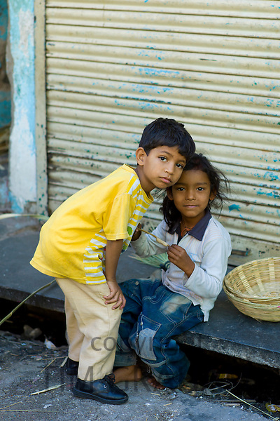 Indian children in the street in old town Udaipur, Rajasthan, Western India