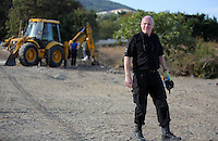 Pictured: South Yorkshire Police Detective Inspector Jon at the second site in Kos, Greece. Tuesday 11 October 2016<br />