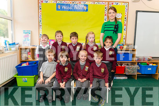 First day of school for junior infants front l-r Nour Elhammal, Honathan Murphy, Aideen O'Sullivan and James Healy, back l-r Eve Mitchell, Mary O'Sullivan, Evan O'Sullivan, Vanessa Riordan and Larisa Cirpaciu at the Kilgarvan  Central School last Monday pictured with class teachers Marion Lynch.