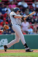 Mahining Valley Scrappers outfielder Bradley Zimmer (47) during a game versus the Lowell Spinners at Fenway Park in Boston, Massachusetts on July 13, 2014. (Ken Babbitt/Four Seam Images)