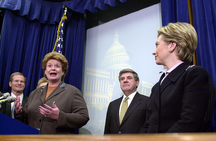 19freshmen120600 -- Debbie Stabenow, D-Mich., and Hillary Rodham Clinton, D-N.Y., during a press conference to introduce the democratic freshmen senators.