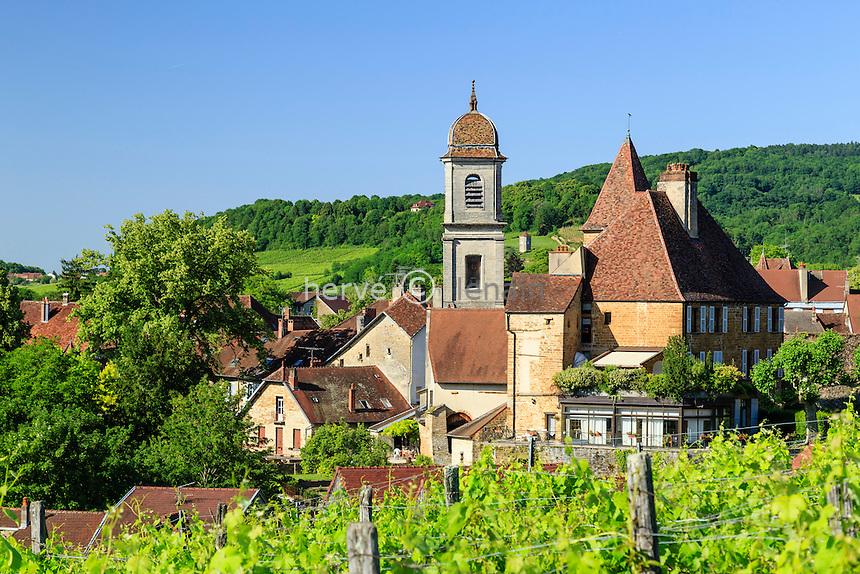 France, Jura (39), Arbois, le Château Bontemps, le clocher de l'ancienne collègiale Notre-Dame et le vignoble // France, Jura, Arbois, Bontemps castel and the belle tower of the former collegiate Notre Dame, in front, the vineyard