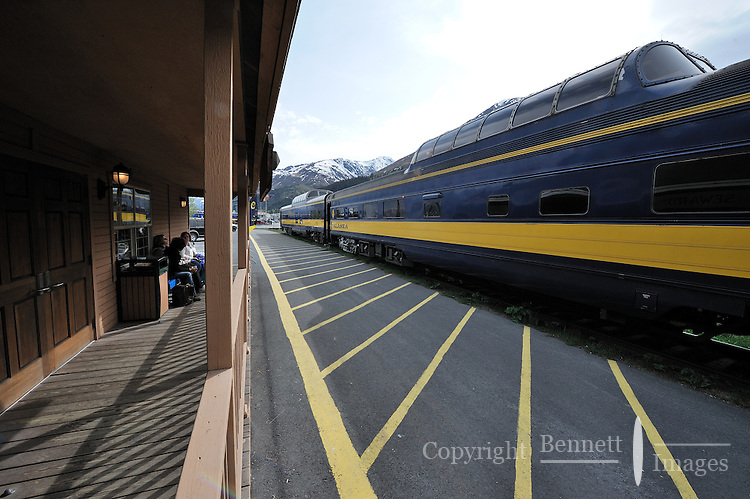 Passengers wait to board the Alaska Railroad's Coastal Classic train at the Seward Depot.