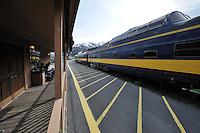 Passengers wait to board the Alaska Railroad's Coastal Classic train at the Seward Depot.