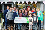 Trish Kelly&Breda Dylan (far left) of the Kerry/Cork health link bus received a kind donation from the costumers of Designer Flowers, Gas terrace, Tralee, last Thursday afternoon which amounted to €356.