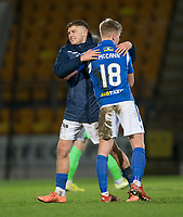 12th February 2020; McDairmid Park, Perth, Perth and Kinross, Scotland; Scottish Premiership Football, St Johnstone versus Motherwell; Callum Hendry and Alistair McCann of St Johnstone celebrate at the end of the match
