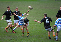 Action from the Wellington college under-80kg rugby union match between Wellington College (black white and gold) and St Patrick's College Silverstream (sky blue and white) at Wellington College, Wellington, New Zealand on Saturday, 8 August 2015. Photo: Dave Lintott / lintottphoto.co.nz