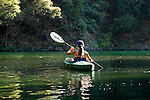Woman kayaking Lake Clementine