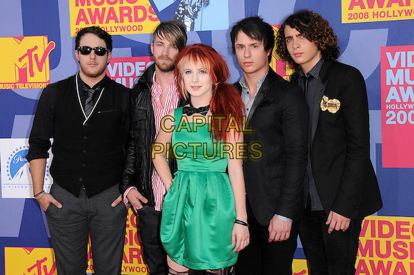 PARAMORE (Jeremy Davis, Zac Farro, Hayley Williams, Joshua Farro and Taylor York).The 2008 MTV Video Music Awards held at Paramount Studios in Hollywood, California, USA..September 7th, 2008.half length black suit jacket green dress cardigan sunglasses shades VMA Vmas.CAP/DVS.©Debbie VanStory/Capital Pictures.