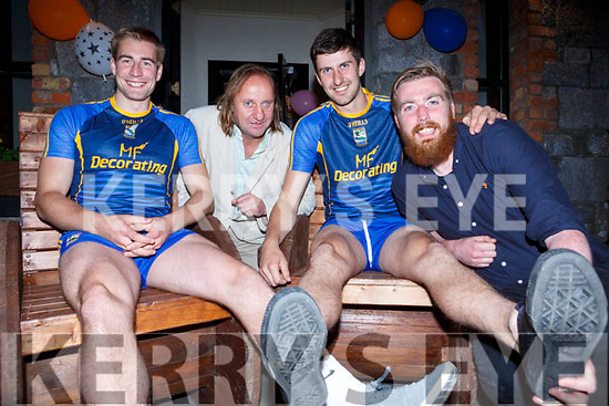 Nathan Breen, Jamie Hallisey, Fergal Hallissey and Tom Crowley who had head shaves and leg waxes in aid of Cystic Fibrosis Ireland in the Inn Between bar Beaufort on Saturday night