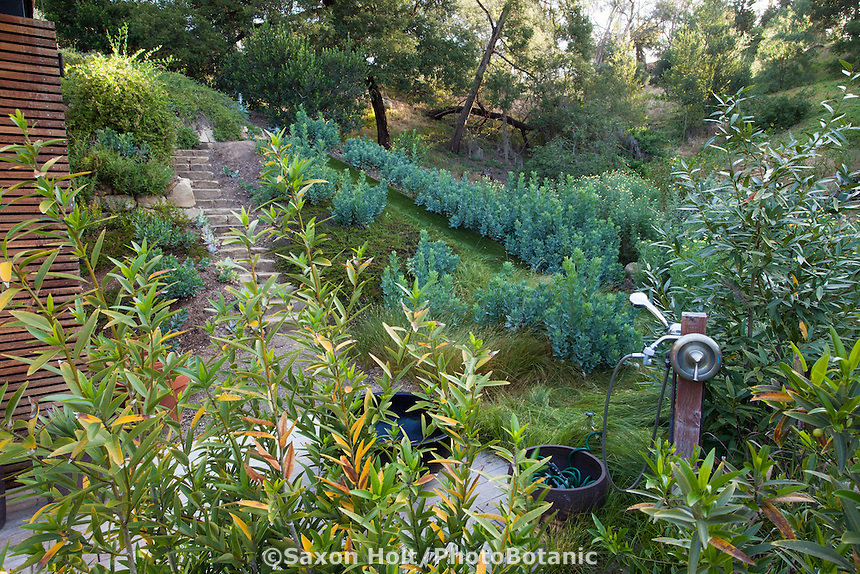 Outdoor shower, Coyote House, SITES® residential home with sustainable garden Santa Barbara California, Susan Van Atta design