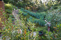 Outdoor shower, Coyote House, SITES® residential home with sustainable garden Santa Barbara California, Susan Van Atta design