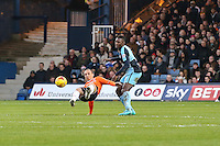 Aaron Pierre of Wycombe Wanderers (right) looks on as Paul Benson of Luton Town (left) attempts to win the ball during the Sky Bet League 2 match between Luton Town and Wycombe Wanderers at Kenilworth Road, Luton, England on 26 December 2015. Photo by David Horn.