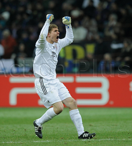 23.02.2011 A small measure of revenge for Bayern Munich as the German side earned a valuable 1-0 Champions League first leg win against Inter Milan. Picture shows Goalkeeper Thomas Kraft celebrating the goal.