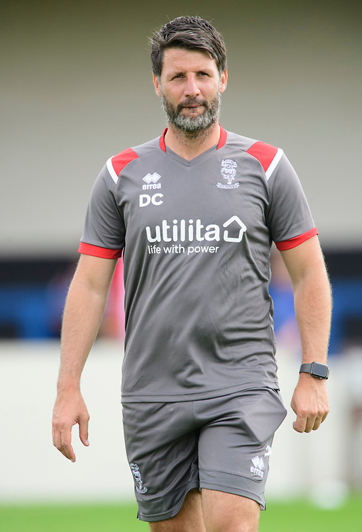 Lincoln City manager Danny Cowley during the pre-match warm-up<br /> <br /> Photographer Chris Vaughan/CameraSport<br /> <br /> Football Pre-Season Friendly (Community Festival of Lincolnshire) - Gainsborough Trinity v Lincoln City - Saturday 6th July 2019 - The Martin & Co Arena - Gainsborough<br /> <br /> World Copyright © 2018 CameraSport. All rights reserved. 43 Linden Ave. Countesthorpe. Leicester. England. LE8 5PG - Tel: +44 (0) 116 277 4147 - admin@camerasport.com - www.camerasport.com