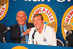 John Hall, Alan Shearer, 30/07/1997<br /> St James' Park. Shearer signs for Newcastle Utd. Photo by Tony Davis