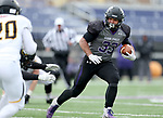 SIOUX FALLS, SD - NOVEMBER 10: Gabriel Watson #33 from the University of South Falls looks for running room against Wayne State during their game Saturday afternoon at Bob Young Field in Sioux Falls. (Photo by Dave Eggen/Inertia)