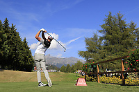 Danny Willett (ENG) tees off the 18th tee during Saturday's Round 3 of the 2018 Omega European Masters, held at the Golf Club Crans-Sur-Sierre, Crans Montana, Switzerland. 8th September 2018.<br /> Picture: Eoin Clarke | Golffile<br /> <br /> <br /> All photos usage must carry mandatory copyright credit (&copy; Golffile | Eoin Clarke)