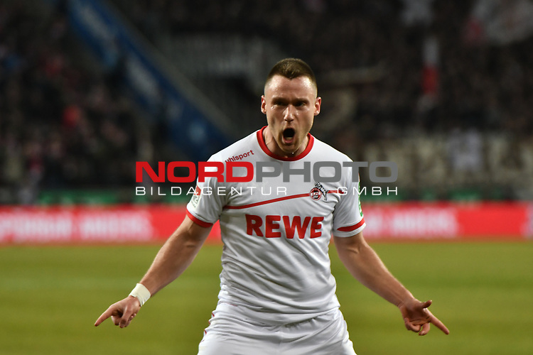 08.02.2019, Rheinenergiestadion, Köln, GER, DFL, 2. BL, VfL 1. FC Koeln vs FC St. Pauli, DFL regulations prohibit any use of photographs as image sequences and/or quasi-video<br /> <br /> im Bild Christian Clemens (#17, 1.FC Köln / Koeln) feiert das Tor zum 2:1 Torschuetze Jhon Cordoba (#15, 1.FC Köln / Koeln)  <br /> <br /> Foto © nph/Mauelshagen