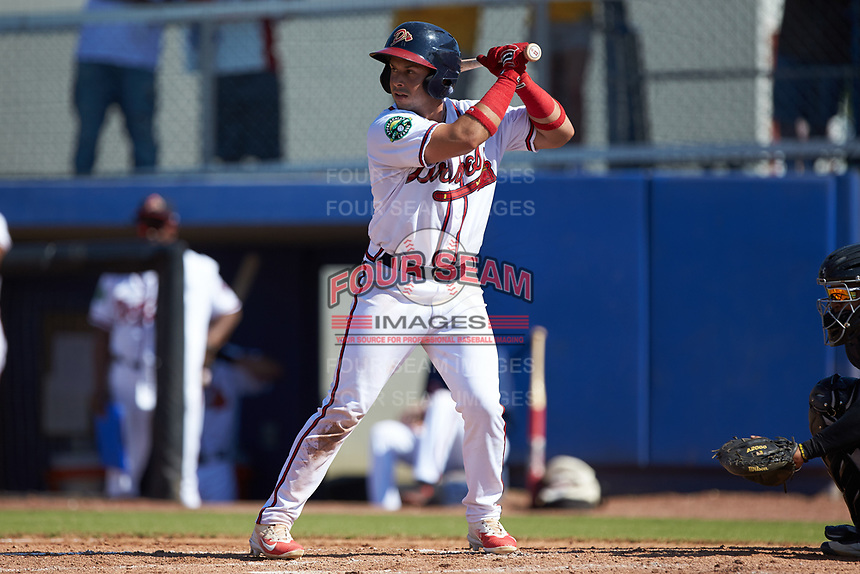 Carlos Baerga Jr. (2) of the Danville Braves at bat against the Bristol Pirates at American Legion Post 325 Field on July 1, 2018 in Danville, Virginia. The Braves defeated the Pirates 3-2 in 10 innings. (Brian Westerholt/Four Seam Images)