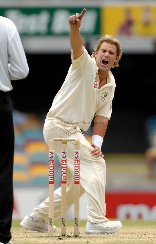 Photo: Steve Holland..Australia v England. 3 mobile Test Series, The Ashes 2006/07, 1st Test. 27/11/2006..Australia's Shane Warne appeals.