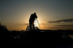 Photographer with Tripod on top of a vehicle, Foothills Parkway at Sunrise, East Tennessee