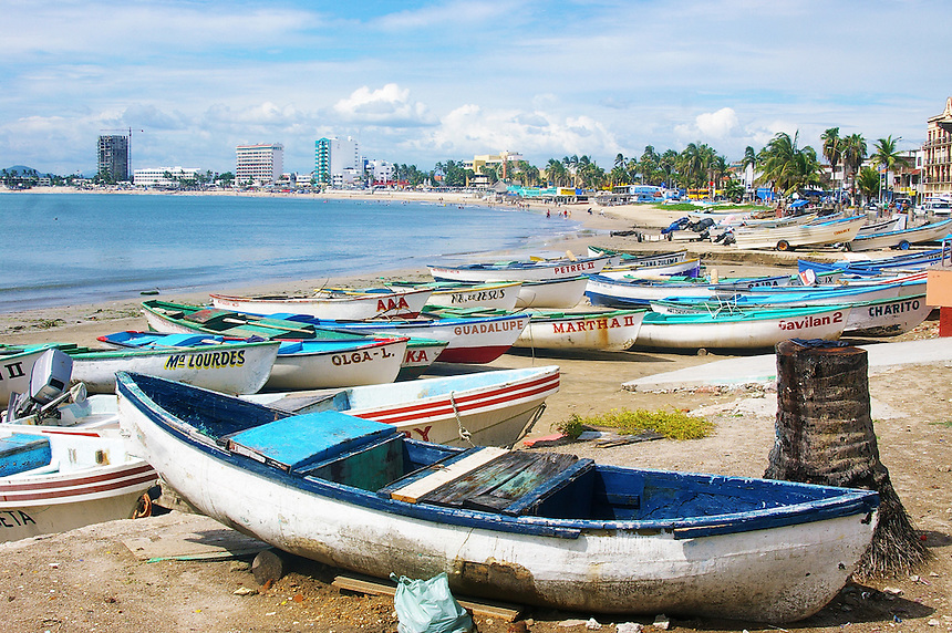 Boats on beach, Mazatlan, Mexico