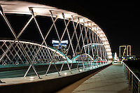 We capture this of the Seventh Street bridge in Fort Worth Texas at night as the lights of the city came on.  Fort Worth recently added this modern urban bridge which connects the university area of the city with the downtown area.   The close up view of the bridge framed the the cityscape at night very nicely.