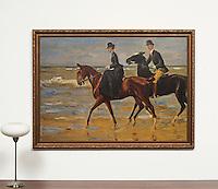 "Liebermann: Riders On The Beach, Digital Print, Framed Dimensions: 47""H x 64""W x 2""D"