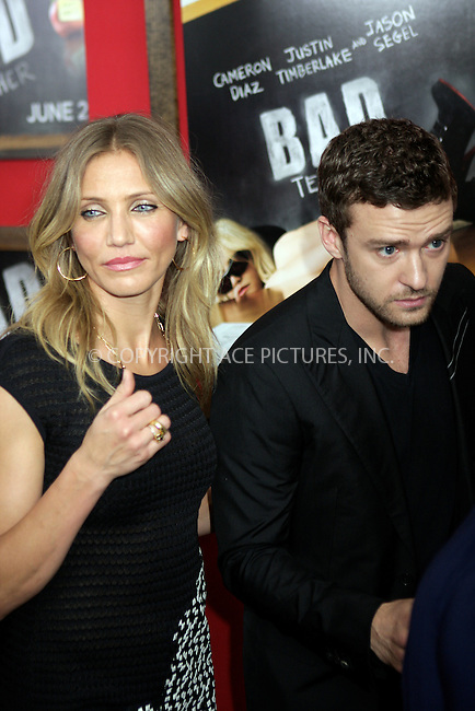 WWW.ACEPIXS.COM . . . . .  ....June 20 2011, New York City....Actors Cameron Diaz and Justin Timberlake arriving at the New York premiere of 'Bad Teacher' at the Ziegfeld Theatre on June 20, 2011 in New York City. ....Please byline: NANCY RIVERA- ACEPIXS.COM.... *** ***..Ace Pictures, Inc:  ..Tel: 646 769 0430..e-mail: info@acepixs.com..web: http://www.acepixs.com