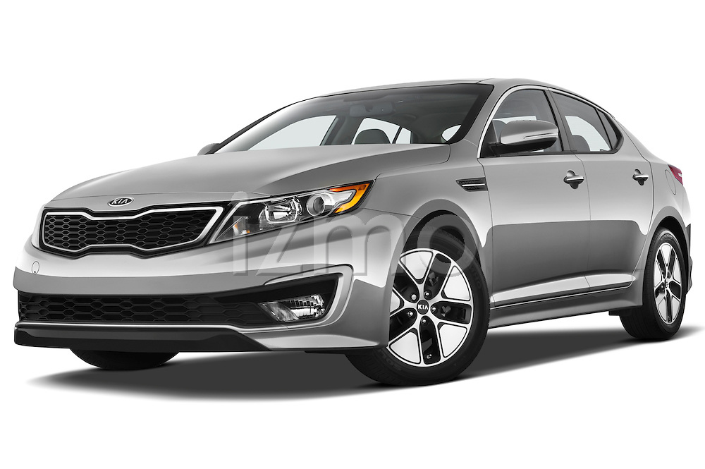Low aggressive front three quarter view of a 2011 Kia Optima Hybrid .