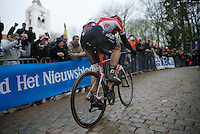 Jurgen Roelandts (BEL/Lotto-Soudal) leading solo over the Kemmelberg<br /> <br /> 77th Gent-Wevelgem 2015