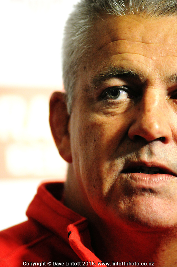 Wales coach Warren Gatland.<br /> Rugby - Wales press conference at Holiday Inn, Wellington. Monday, 14 June 2010. Photo: Dave Lintott / lintottphoto.co.nz