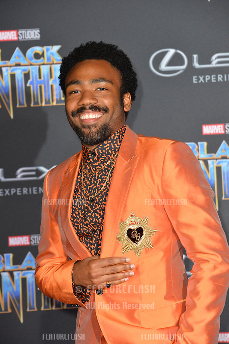 Donald Glover at the world premiere for &quot;Black Panther&quot; at the Dolby Theatre, Hollywood, USA 29 Jan. 2018<br /> Picture: Paul Smith/Featureflash/SilverHub 0208 004 5359 sales@silverhubmedia.com