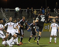 Josh Wolfe(16) of D.C. United heads in the first goal against the Philadelphia Union during a play-in game for the US Open Cup tournament at Maryland Sportsplex, in Boyds, Maryland on April 6 2011. D.C. United won 3-2 after overtime penalty kicks.
