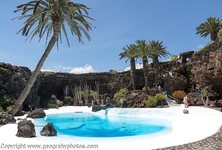 Tropical gardens Jameo Grande swimming pool Jameos de Aqua, by Cesar Manrique, Lanzarote, Canary Islands, Spain
