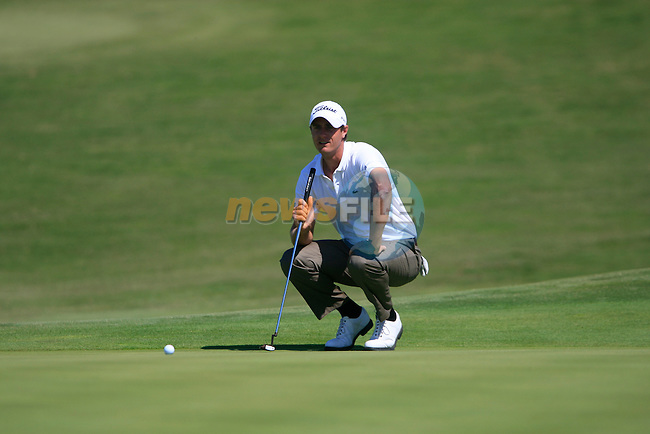 Nicolas Colsaerts (BEL) lines up his putt on the 14th green during the morning session on Day 3 of the Volvo World Match Play Championship in Finca Cortesin, Casares, Spain, 21st May 2011. (Photo Eoin Clarke/Golffile 2011)