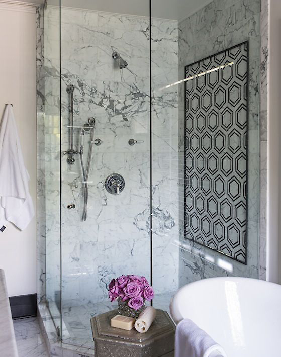 This custom shower features Pembroke, a handmade mosaic shown in  honed Nero Marquina, Bardiglio, Thassos and Carrara, is part of the Silk Road Collection by Sara Baldwin for New Ravenna.<br /> <br /> For pricing samples and design help, click here: http://www.newravenna.com/showrooms/