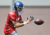 Kyle Lauletta #17, New York Giants rookie quarterback, takes a snap during training camp at Quest Diagnostics Training Center in East Rutherford, NJ on Friday, Aug. 3, 2018.