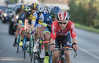 eventual race winner Jasper de Buyst (BEL/Lotto-Soudal) up front<br /> <br /> Binche-Chimay-Binche 2017 (BEL) 197km<br /> 'Mémorial Frank Vandenbroucke'