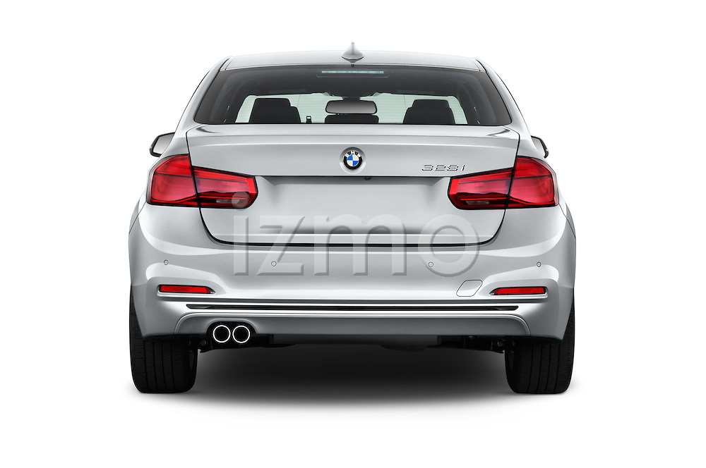 Straight rear view of 2016 BMW 3 Series 328i 4 Door Sedan Rear View  stock images