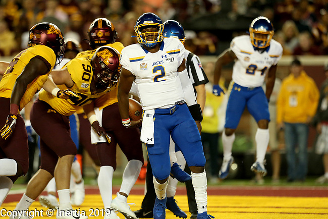 MINNEAPOLIS, MN - AUGUST 29: J'Bore Gibbs #2 from South Dakota State University celebrates his touchdown against the University of Minnesota during their game Thursday night at TCF Bank Stadium in Minneapolis, MN. (Photo by Dave Eggen/Inertia)