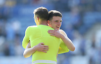 West Ham United's Declan Rice celebrates at the end of the game with Adrian<br /> <br /> Photographer Rob Newell/CameraSport<br /> <br /> The Premier League - Leicester City v West Ham United - Saturday 5th May 2018 - King Power Stadium - Leicester<br /> <br /> World Copyright &copy; 2018 CameraSport. All rights reserved. 43 Linden Ave. Countesthorpe. Leicester. England. LE8 5PG - Tel: +44 (0) 116 277 4147 - admin@camerasport.com - www.camerasport.com