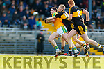 Bryan Sheehan, South Kerry in action against Gavin O Shea, Dr Crokes during the Semi finals of the Kerry Senior GAA Football Championship between Dr Crokes and South Kerry at Fitzgerald Stadium on Sunday.