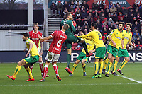 Angus Gunn of Norwich City comes and takes the aerial ball during Bristol City vs Norwich City, Sky Bet EFL Championship Football at Ashton Gate on 13th January 2018