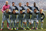 07 December 2013: Kansas City's starters. Front row (l to r): Graham Zusi, Benny Feilhaber, Dom Dwyer (ENG), Oriol Uri Rosell (ESP), Paulo Nagamura (BRA), Seth Sinovic. Back row (l to r): Jimmy Nielsen (DEN), Aurelien Collin (FRA), Chance Myers, Matt Besler, C.J. Sapong. MLS Cup 2013 was played between Sporting Kansas City and Real Salt Lake at Sporting Park in Kansas City, Kansas. Sporting Kansas City won the championship by winning the penalty kick shootout 7-6 after the game ended in a 1-1 tie.